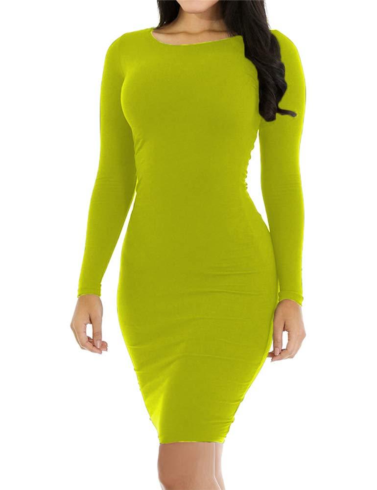 Available at Amazon: Hioinieiy Women's Crew Neck Long Sleeve Midi Bodycon Dress