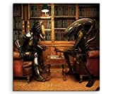 Alien vs Predator Playing Chess Leinwandbild in 60x60cm