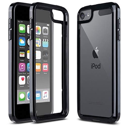 ULAK Custodia Compatibile con per iPod Touch 7 Generazione, Cover Sottile Antiurto per iPod Touch 5/6 Generazione Trasparente Antigraffio Protettiva Paraurti in TPU per iPod Touch 5/6/7,Clear Nero