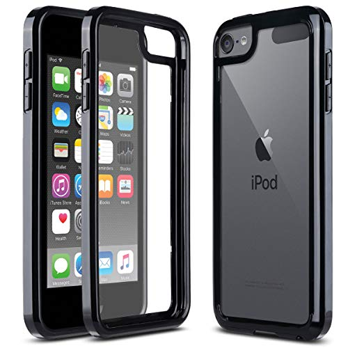ULAK iPod Touch 7 Hülle, iPod Touch 5/6 Dünne Durchsichtig Kratzfeste Schutzhülle Transparent Soft TPU Bumper Crystal Clear Case Cover für Apple iPod Touch 5/6/7 Generation - Schwarz