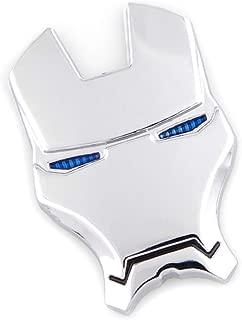 3D Metal Ironman Emblem Face Mask Emblem Motorcycle Auto Rear Trunk Decal Fender Side Sticker Decal (Silver)