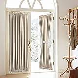 Blackout Door Curtain, Elegance French Door Curtains for Privacy, Thermal Insulated Door Curtain Panels, Room Darkening Door Window Curtain (50' x 72' 2pcs: Beige)