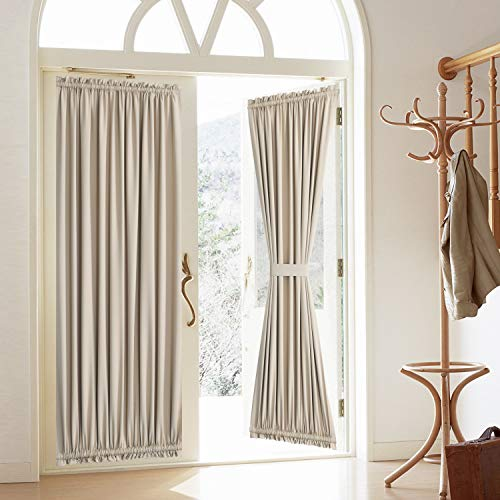 "Blackout Door Curtain, Elegance French Door Curtains for Privacy, Thermal Insulated Door Curtain Panels, Room Darkening Door Window Curtain (50"" x 72"" 2pcs: Beige)"