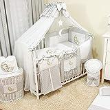 Bello 16tlg. Baby Bettwäsche-Set   Betthimmel für Babybett   Komplett Kinderbettwäsche-Set   Babybettwäsche (70x140 cm, Grau)