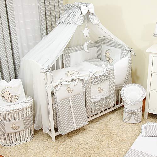 Bello 16tlg. Baby Bettwäsche-Set | Betthimmel für Babybett | Babybett Komplett Kinderbettwäsche-Set | Babybettwäsche (70x140 cm, Grau)