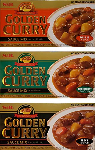 S&B Golden Curry Sauce Mix, Mild,Medium Hot and Hot 7.8-Ounce (Pack of 3)