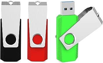 Aiibe 3 Pack 64 GB USB Flash Drive 3.0 Thumb Drive Jump Drives USB Memory Stick 64GB Swivel Design Data Storage Flash Drive (64G, USB 3.0, Red/Blue/Green)
