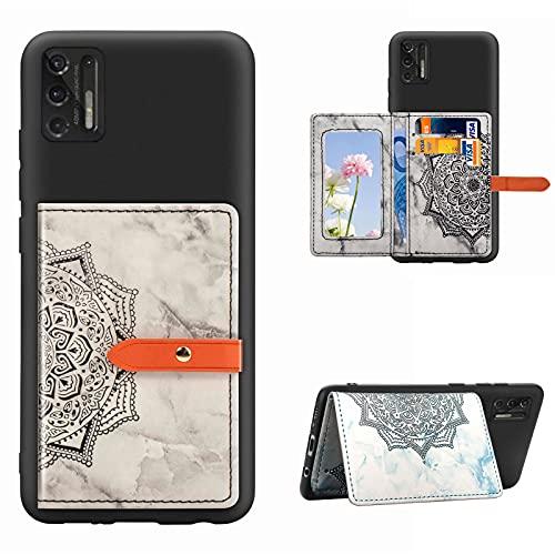 Yewos Compatible avec Coque Huawei P30 Pro Étui Portefeuille Cuir Mince Fleur Mandala Motif Marbre Flip Porte-Cartes Bancaire Stand Flexible Souple TPU Housse Intérieure,Noir