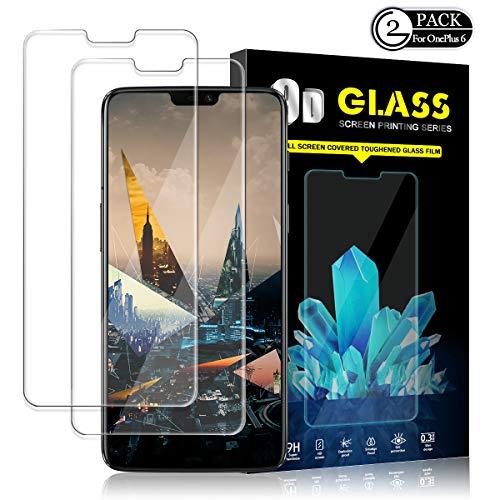 Oneplus 6 Screen Protector by YEYEBF, [2 Pack] Tempered Glass Screen Protector for Oneplus 6 [3D Touch][HD-Clear][Bubble-Free][Anti-Scratch][Anti-Glare]