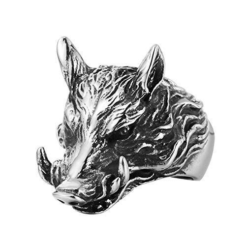 ROMQUEEN Anillos de Acero Anillos Hombre Serpiente Anillo de Cabeza de Jabalí,Plata Negro,La Talla de 20