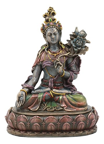 Ebros Bodhisattva White Tara Statue Goddess of Compassion and Healing Meditating On Lotus Seat Throne Buddha Sculpture Eastern Enlightenment Buddhism Figurine