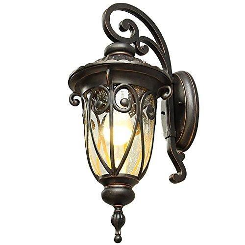 Continental antieke wandlamp buiten waterdicht Villa wandlamp zwart