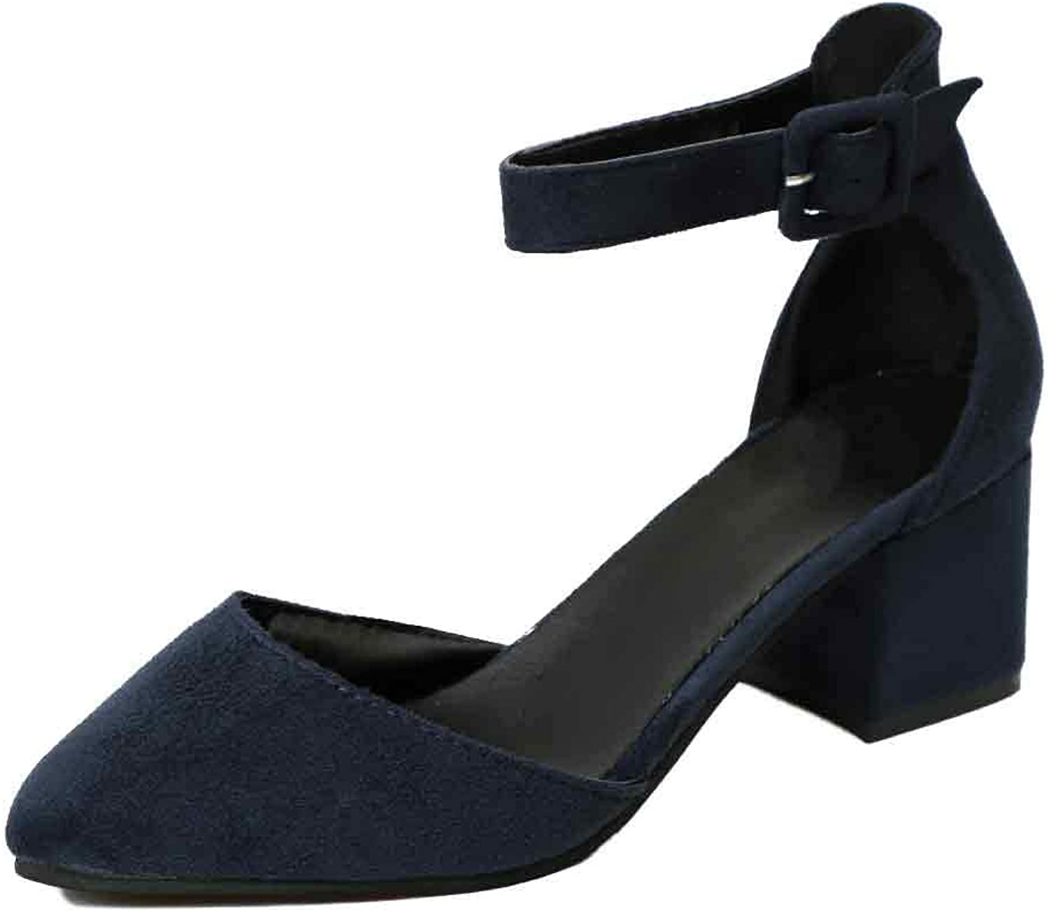 Huicai Ladies Solid color Ankle Strap Buckle Pointed Toe Low Heeled shoes