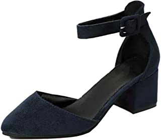 Inlefen Female Solid Color Breathable Pointed Toe Buckle Low Wedge Shoes