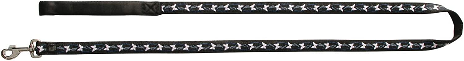 Dogit Style XLarge Butterfly Nylon Leash with Comfort Handle, 1Inch by 6Feet, bluee on Black Nylon