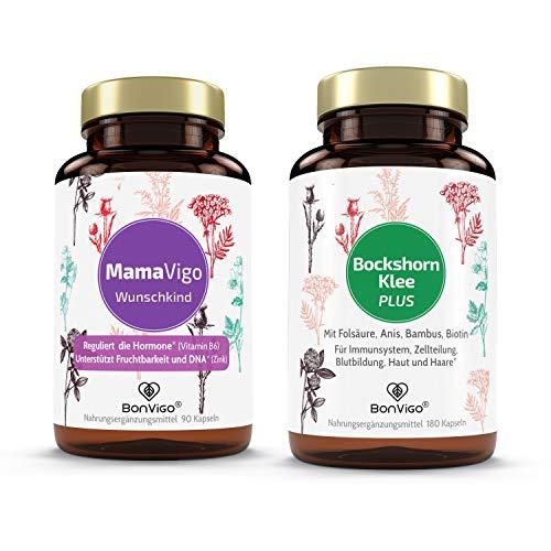 BonVigo Duo Schwangerschaft - MamaVigo und Bockshornklee Plus, je eine Dose mit veganen Pflanzen-Komplexen - Mönchspfeffer, Yams, Anis, Bambus, Folsäure, Biotin in den gefragten Kinderwunsch Kapseln