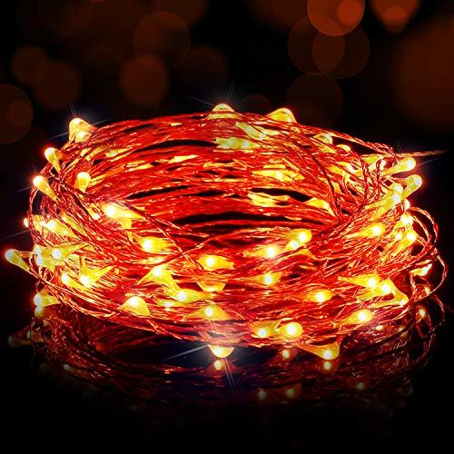 Ariceleo Luci Led USB, 1 Confezione Luci Albero di Natale Filo di Rame Luci Natale Luci Fata per Interno Festival Natale Matrimonio Festa Patio Decorativa con Interfaccia USB (5M, Arancione)