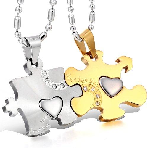 JewelryWe Schmuck 2 Freundschaftsketten Halsketten Just for You Liebe Edelstahl Puzzle Herz Anhänger für Damen & Herren Gold/Silber