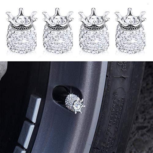 Cappucci degli steli delle valvole, 4 pezzi tappi valvola per pneumatici universali con strass di cristallo fatti a mano cromati, Attraenti accessori per auto bling antipolvere - scheggia.