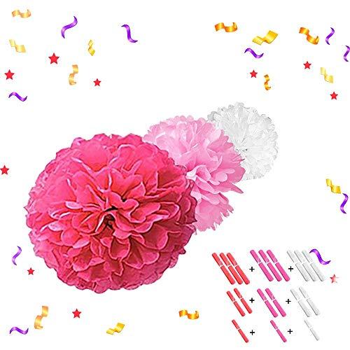 LATTCURE 18 Stück Seidenpapier Pompons, Pompons Papier Kommunion Dekoration für Geburtstag, Blumen Ball Dekorpapier, Kit für Hochzeit Baby Dusche Parteien Hauptdekorationen und Partei Dekoration