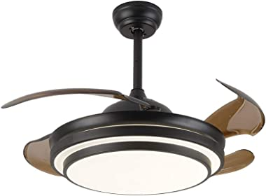 """42"""" Invisible Ceiling Fan Light Ceiling Light Remote Control Dimmable 4 Acrylic Retractable Brown Leaf Reversible Ceiling Fan"""