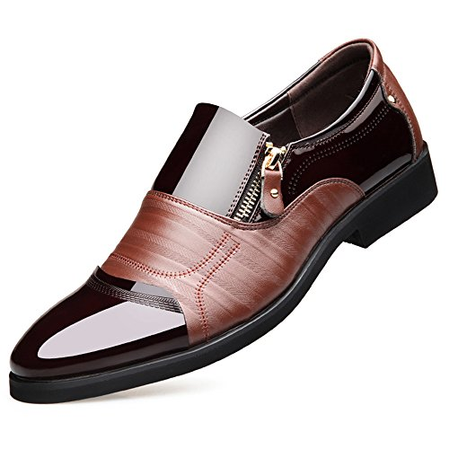 Men's Pleather Dress Shoes with Pointed Toe by Blivener
