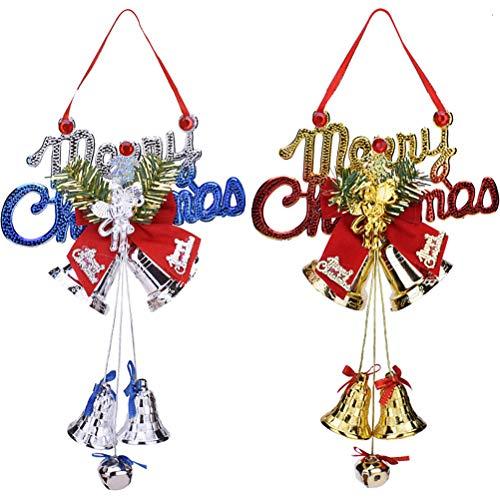 XCSW Bola de Campana de Navidad 2 Colgantes de Campanas de Navidad para Colgar decoración de árbol de Navidad y Campanas, decoración para Puertas de árbol de Navidad, Ventanas, decoración de Chimenea