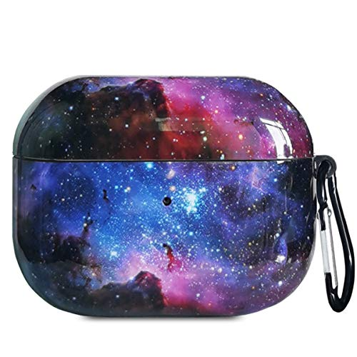 J.west AirPods Pro Case Cover, Cute Starry Sky Print Pretty Design Soft TPU Protective Case Accessories Kit for Women Girls Compatiable with Apple AirPod Pro 3rd Genaration Charging Case (Galaxy)