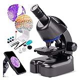 Microscopio biologico 40X-800X per studenti Adulti Potente microscopio per bambini a scuola Laboratorio di ricerca a casa con adattatore per telefono, regalo per vetrini preparati