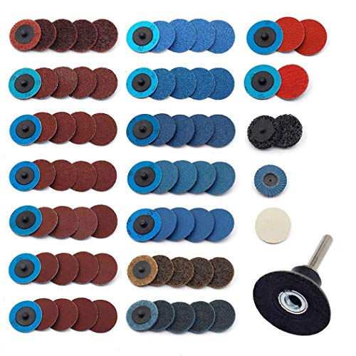 Sanding Discs Set 80 Pcs YUFUTOL 2 inch Roloc Quick Change Discs with a 1/4 inch Holder,Surface Conditioning Discs for Die Grinder Surface Prep Strip Grind Polish Burr Finish Rust Paint Removal
