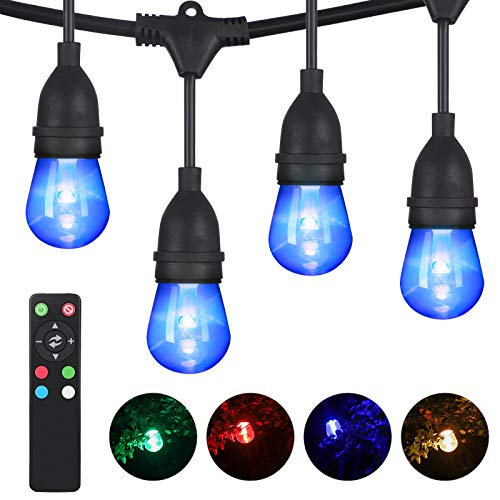 DEWENWILS 52.5ft RGBW LED Outdoor String Lights Color Changing, Dimmable, 24+2 Shatterproof Bulbs, Waterproof LED Patio Lights, Backyard Lights with Remote for Pool Cafe Garden, UL Listed