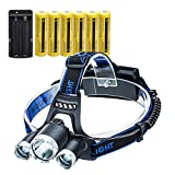 LED Headlamp Flashlight,10000 Lumens Waterproof 4 Modes Bright Headlight,with 6PCS 3.7V High Capacity Rechargeable Battery + Batteries Charger for Cycling Camping Running Fishing