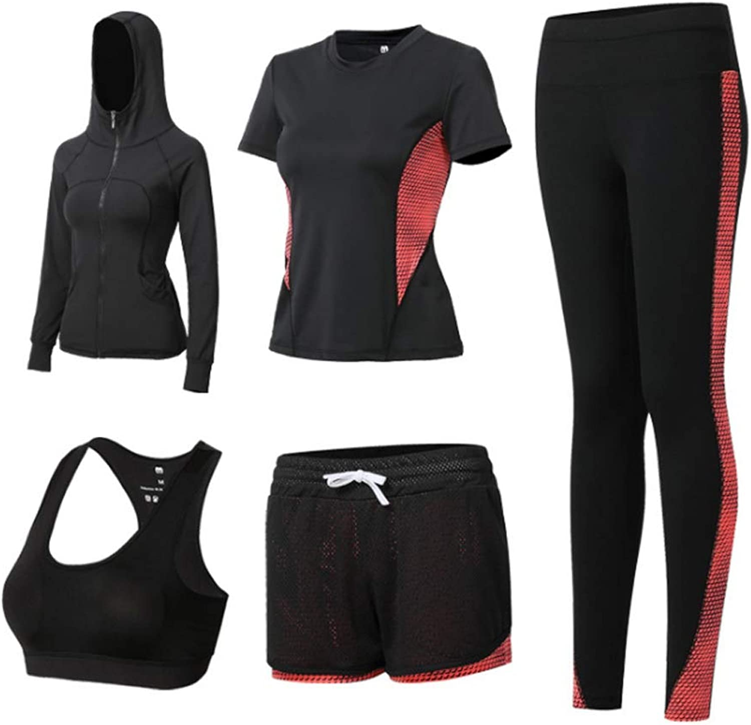 Women's Sports Bra Suit Sports Fitness Running Yoga Clothes Training Clothes Gym Sportswear Stretch Pants FivePiece