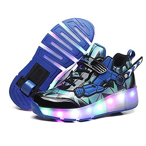 MNVOA USB Automática Ruedas Ajustables LED Zapatillas con Luces Ruedas Color Deporte Zapatos de Skate Roller Deportivos Zapatos Trainers Monopatín Sneaker para Niños Niñas,Blue 1 Wheel,36EU