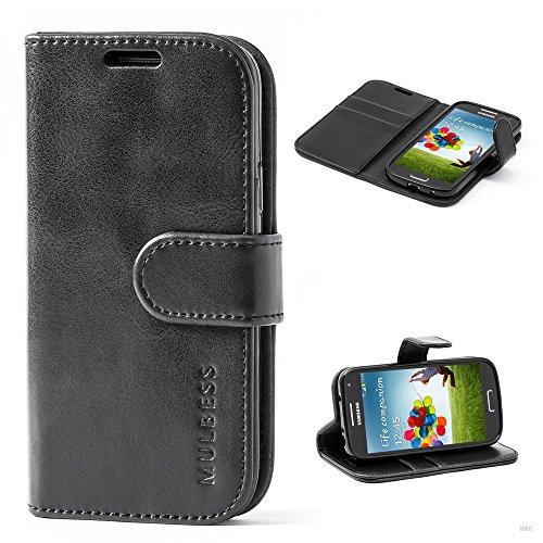 Mulbess Handyhülle für Samsung Galaxy S4 Mini Hülle, Leder Flip Case Schutzhülle für Samsung Galaxy S4 Mini Tasche, Schwarz