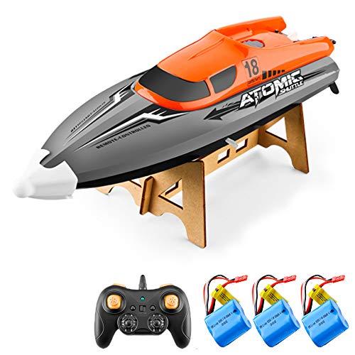 GoolRC Barco RC Control Remoto Barco 30KM / H IPV7 de Alta Velocidad Impermeable 2.4GHz Barco de Carreras de 4 Canales para niños Adultos (Naranja, 3 Batería)