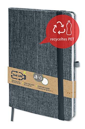 2nd LIFE Bullet Journal Schwarz | DIN A5 | 192 Innenseiten dotted | Notizbuch aus recyceltem PET für eine saubere Umwelt, für Notizen und Skizzen | Gummizugband, Stift-Schlaufe, Falttasche