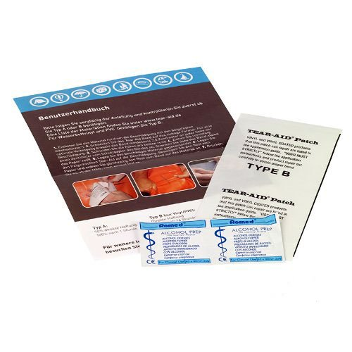 Tear-Aid type b repair patches, for all PVC types, water beds, tarpaulin, tents, dinghies, paddling pools, bouncy castles, camping equipment, etc.
