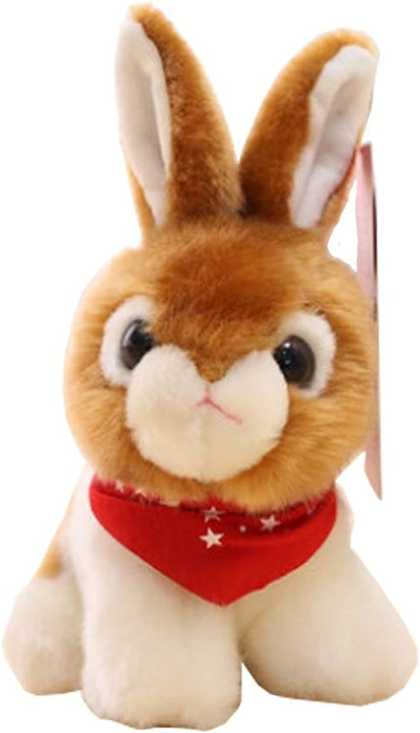 Shengshihuizhong Plush Toys, The Latest Puppy, Super Cute White Rabbit, Plush Simulation Rabbit, Small Animal Toy Latest Models (color   Brown, Size   11 incheswith Cushion)