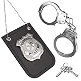 HAPTIME Police Badge and Toy Handcuffs, Cosplay Handcuffs for Boys Girls Kids, Metal Steel Handcuffs, Cop Pretend Role Play Set for School Classroom, Birthday Stuffers Party Favors Gifts
