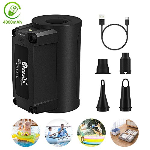 Electric Air Pump for Inflatables, Portable Air Mattress Pump, Rechargeable Inflator/Deflator Pumps with Nozzles for Pool Floats, Air Bed, Sofa, Swimming Ring, Vacuum Bag