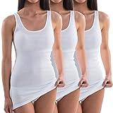 HERMKO 1317 3er Pack Damen Unterhemd extralang; längeres Achselhemd (+10cm),...