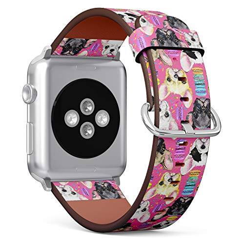 Compatible with Small Apple Watch 38mm & 40mm (All Series) Leather Watch Wrist Band Strap Bracelet with Stainless Steel Clasp and Adapters (Cute Dogs Collection)