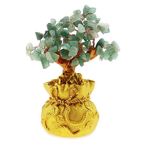 YINETTECH Feng Shui - Árbol de piedra de la suerte, diseño de árbol de cristal, para oficina, sala de estar, buena suerte, color verde