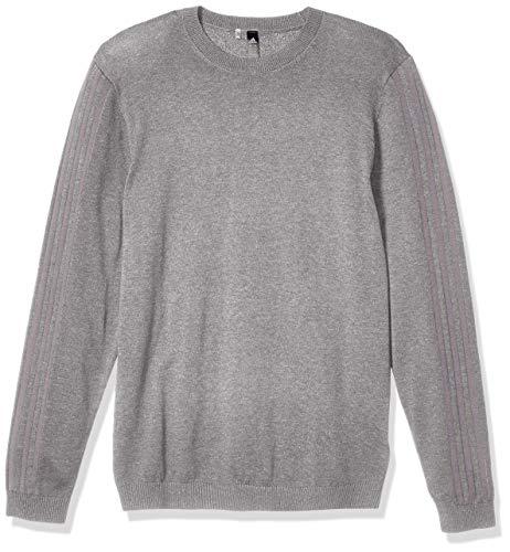 adidas Herren 3 Stripes Crew Sweater Sweatshirt mit Rundhalsabschnitt, Grau DREI Melange/Grau DREI, Medium