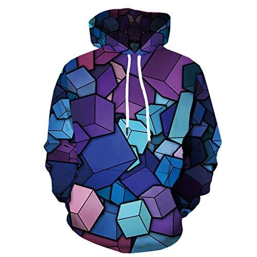 Xmiral Herren Slim Fit Hoodie Lange Ärmel Kapuzenpullover 3D Druck Farbig Sweatshirt Pullover Hooded Streetwear Hemden Strickwaren(k Violett,S)
