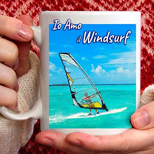 Tazza Amo Windsurf in Ceramica - 350ml. per Te o Regalo per Uomo, Amico, papà, Zio, Cugino, Nonno, Compleanno, Anniversario