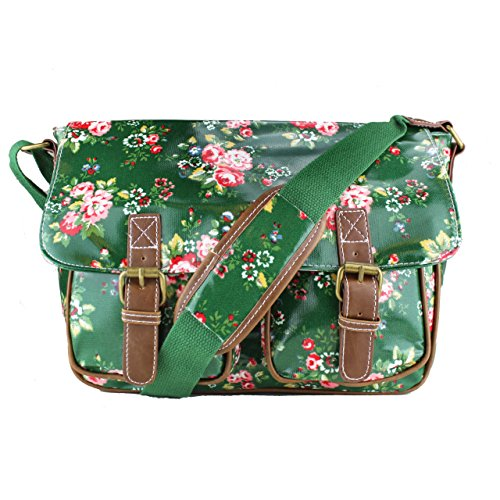 Floral Polka Dots Ladies Oilcloth Satchel Messenger Shoulder Hand School Bag (Dark Green)