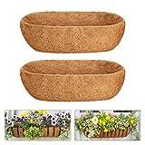 Newtion 2PCS 24 Inch Trough Coco Liners, Pre-Formed Replacement Coconut Fiber Liner, Natural Coconut Coir Planter for Window Box Decks, Gardens, Vegetable Flower Pots, Flow Boxes, Basket Planters