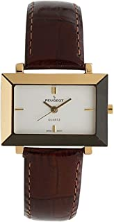 Peugeot Woment 14KT Gold Plated Rectangular Wrist Watch - Faceted Mirror Edged Glass Bezel and Glossy Brown Leather Strap